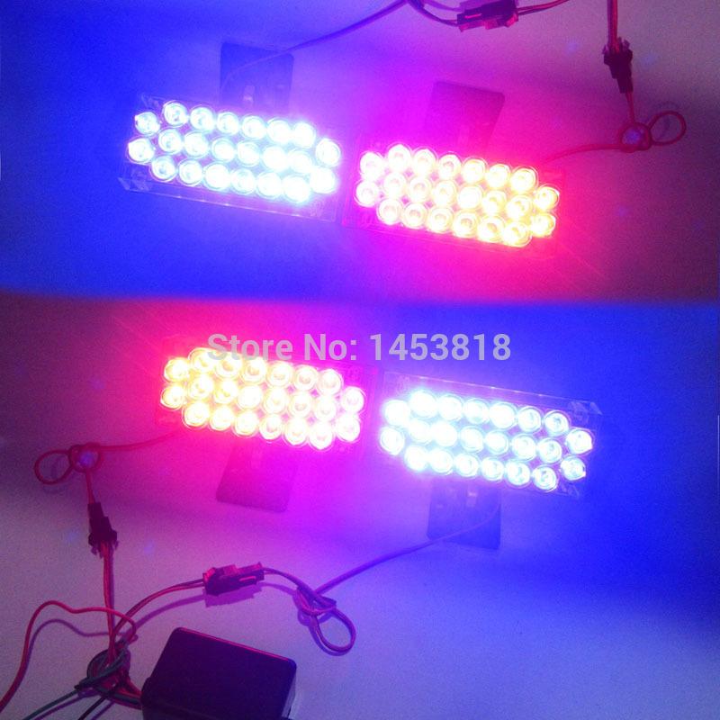 4 X 22 LED RED & BlUE luz de circulação diurna aviso de emergência do Flash Strobe Universal EMS Police Car luz bombeiros Grille Fog estacionamento(China (Mainland))