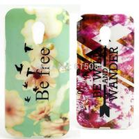 Back Case For Motorola Moto G2 G 2nd Gen XT1068 XT1069 Fahion Soft TPU Flower Be Free  Mobile Phone cover 2pcs/lot
