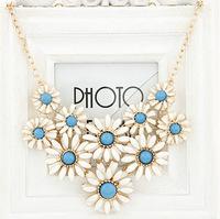 2014 Bohemia Daisy Flower Neon Statement Necklace Fine Jewelry Wholesale Big Choker Necklace colares femininos XL0124