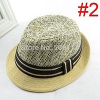 New Children Accessories Boys Girls Summer Straw Hat Child Top Hat Kids Summer Fedora Hat 10pcs/lot BH247