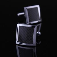 HOLIDAY GIFT CUFFLINKS Black carbon fiber SILVER TONE cufflinks WEDDING BEST MAN USHER NEW FREE SHIP sterling silver jewelry