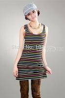 women lady tank tops o-neck   lady tops fashion striped  XT_002891   new one size free shipping
