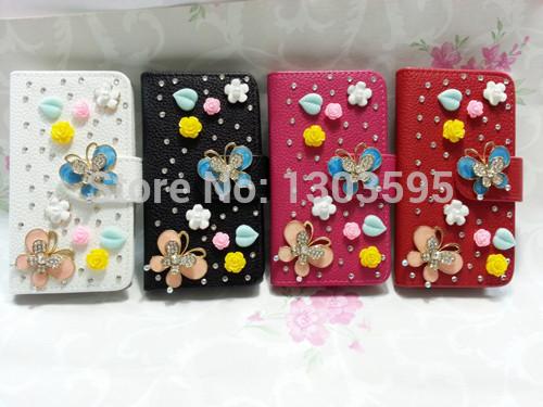 for Samsung Galaxy S i9000 Case a variety of fashion handmade rhinestone PU Flip 3D phone holster(China (Mainland))