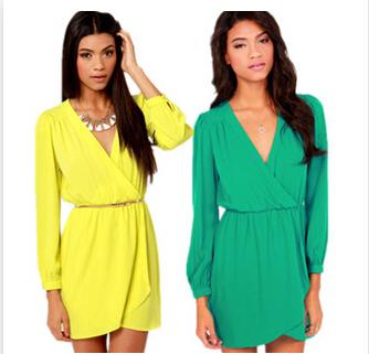 Лето женская мода конфеты цветов платья шифон v-образным вырезом с длинными рукавами свадебные платья свободного покроя платье желтый зеленый S-XL