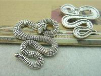 10Pcs Snake Charms Pendant Antiuqe Silver Tone DIY Jewelry Making