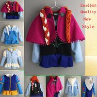 2014 New Autumn hot frozen Elsa Anna Hoodies jacket clothing for kid girls Christmas coat,Lovely Winter children outerwear