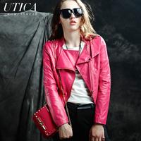 Autumn New Short Punk Rivet Slim Outerwear Women Designer Motorcycle Clothing Fashion Female Black Rose Pu Leather Jacket Coat