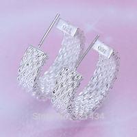Hot Fashion  925 Sterling Silver womens women Female earrings drop stud dangles Reseau round girl friend birthday gift box KE-82