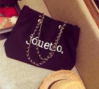 2014 the new south Korean big chain letters personality for canvas bag out of the street female single shoulder bag handbag
