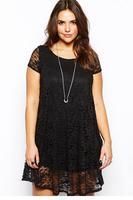 Black Lace Overlay Plus Mini Dress LC21738