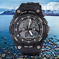 SANDA Men Analog Digital LED Sport Quartz Watch Silicone Strap 30M Waterproof Diving Military Wristwatch Casual Outdoor Clock