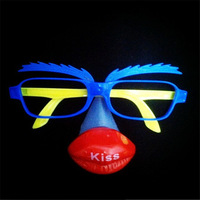 15pcs/lot LED clown party glasses, masquerade party mask,funny light up toy photo booth props