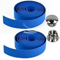 New 1pair Blue Bike Bicycle Bar Handlebar Tape Wrap non-slip Belt with 2 Bar Plugs