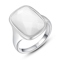Chic Oblong White Moonstone Auden Crystal Gold Plated Ring Size 6-8