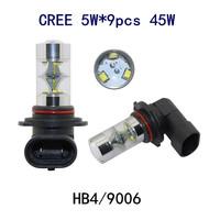 NEWEST Arrived 2pcs HB4 9006 9CREE 45W high power super bright led fog light headlamp for Honda accord toyota corolla 03-11 DRL
