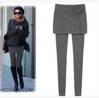 Europe Style cotton blending Leggings black/gray long type high elasticity autumn solid women's fashion clothingleisure 1PC