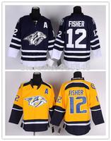 2014 New 12 Mike Fisher jersey,Nashville Predators Yellow,Navy Blue Authentic Ice Hockey Jerseys,Embroidery Logos,Size M-XXXL