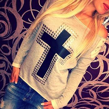 Бесплатная доставка женщин заклепки крест футболка с длинным топы хип-обниматься ...