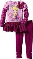 Retail+New 2014 Little Girls' Toddler 2 Piece Tinkerbell Legging Set,Children girls clothing sets,Christmas clothing