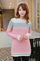 2014 New Vogue Women Sweaters Korean Style Fashion Color Blocking Long Sleeves All Match Casual Female Sweaters Plus Size