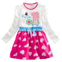 Retail Free shipping New Arrival Peppa Pig girl dress,cartoon dress,hot sale dress