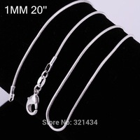 Wholesale Sale Fashion High quality 925 Sterling silver 20 inches classic Snake chain Necklace Necklaces Accessories Pendant KC8