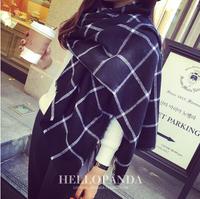 Grid scarf women Thicken wool spinning cashmere  foulard women classical grid scarves women keep warm winter scarf blue  S143