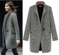 2014 New Spring/Winter Trench Coat Women Grey Medium Long Oversize Warm Jacket European Fashion Grid Overcoat roupas femininas