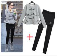 Winter new European and American big yards casual fleece sweater + plus velvet leggings suit  free shipping