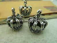 10Pcs Crown Charms Pendant Antiuqe Silver Tone DIY Jewelry Making