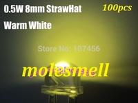 Free shipping 0.5W 8mm 140 degree StrawHat warm white LED 10000mcd 150mA 100pcs/lot 8mm straw hat warm white led