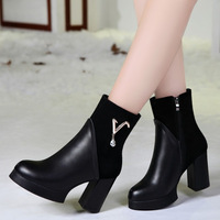 Er Kang 2014 autumn and winter shoes new leather boots with Ma Dingxue England thick waterproof Taiwan high-heeled boots