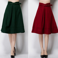 Autumn Winter Fashion Womens Vintage Retro Hepburn Red Green Woolen High Waist A-Line Knee-Length Midi Skirts Ball Gown