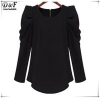 Wholesale Clothing Ladies Desigual Fall Fashion Slim Fit American Apparel Women Casual Black Puff Sleeve Zipper Slim Blouse