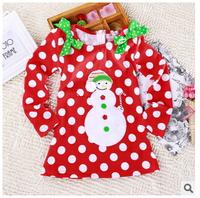New 2015 dress girls' dresses, long sleeve, dress girl, dot red casual dress,  girl Merry Christmas Cotton Dress