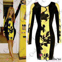 Europe Style Hot Sale Close-fitting Printing Dresses With Long Sleeves In Black and Yellow color ET006