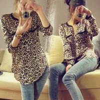 Fashion Women Casual Shirt Leopard Print Chiffon Blouse Ladies Sexy Long Sleeve Shirt Loose Leopard Blouse Free shipping