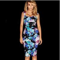 Sexy Floral Print Bodycon Dress 2014 Bodycon Sleeveless Dresses Plus Size Fashion Women Party Clothing Big Size L Female Clothes