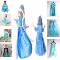 Retail+FROZEN Princess Anna Elsa Queen Girl Cosplay Costume Party Formal Dress