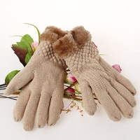 1pairs/Lot Winter Girls Knitted Gloves Super Warm Weaving Mittens Thick Fur Lining Mitts Hand Protector 7Colors FK673655