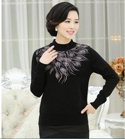 2014 Women Autumn Winter Thick Elderly Women Sweater Basic Cashmere Mother Sweater Plus size M L XL XXL XXXL
