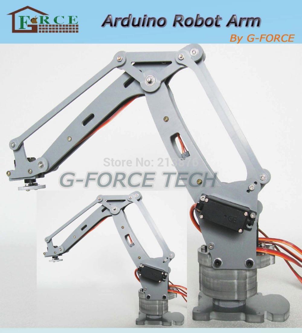 Arduino-powered desktop 4-axis parallel-mechanism laser cut acrylic robot arm PalletPack industrial robot arm(China (Mainland))