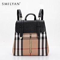 Smilyan canvas backpack school backpacks leather women shoulder bag satchel plaid travel bag medium women backpack free shipping