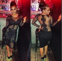 2014 women celebrity black lace dress sexy bodycon bandage dress clubwear transparent back flower lace embroidery
