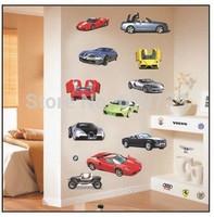 Free shipping, 33*60cm PVC DIY car wall stickers cartoon Children room decal , Sports car factory directly sale,TC1087
