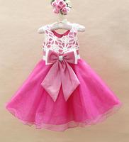 high quality sleeveless girl sweet princess tulle lace party dress children tutu dress