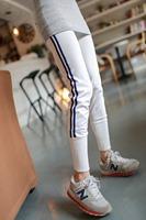 Free Shipping Casual Sports Full Length Leggings Women's Slim Pencil Pants The side vertical stripes sweatpants