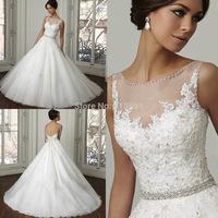 2015 Custom Made Open Back Lace Princess Wedding Dress Ball Gown Bridal Dresses Robe De Mariage W3717