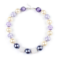 5pcs/lot New Arrival Purple Inspired Chunky Necklace Bubble Gumball Princess Sofia Necklace DIY Girls Jewelry