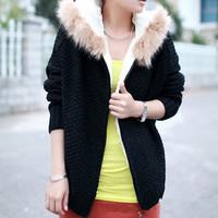 winter women fleece lining cardigan women, warm long women sweater,thick hooded slim knitwear for woman,free shipping